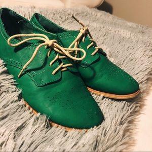 Green Saddle Oxfords